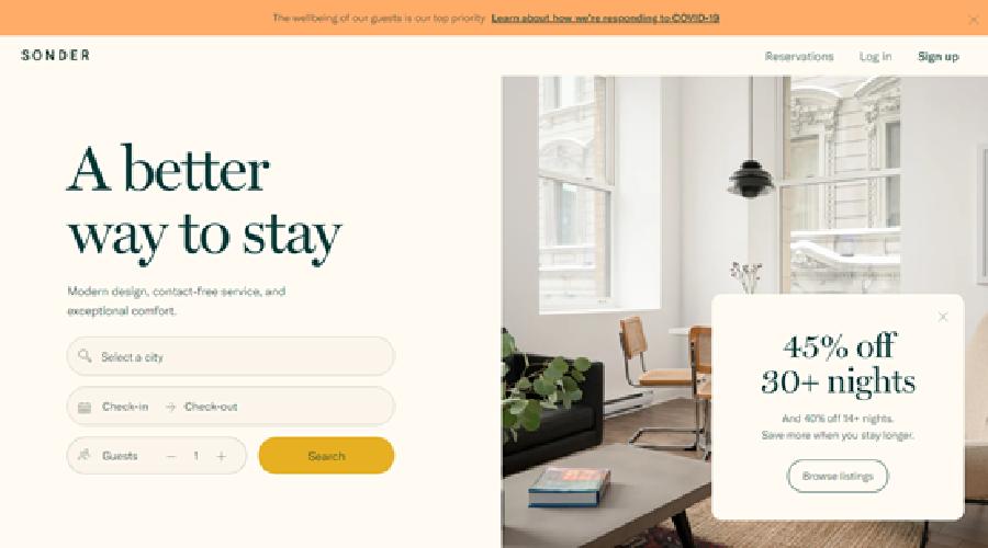 美国度假短租平台「Sonder」获1.7亿美金E轮融资,公司估值达十三亿美金